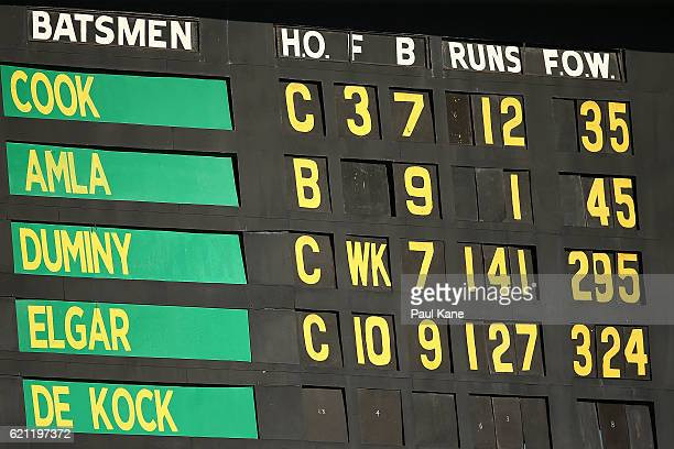 The scoreboard is seen during day three of the First Test match between Australia and South Africa at the WACA on November 5 2016 in Perth Australia