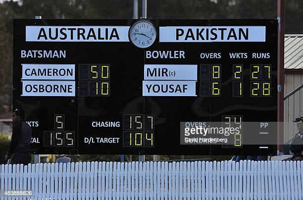 The scoreboard is seen during the women's international series One Day match between the Australian Southern Stars and Pakistan at Redlands Cricket...