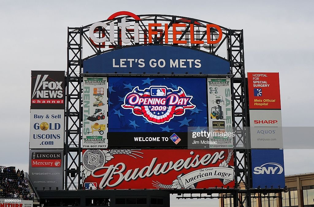 The scoreboard is seen prior to the New York Mets playing the San Diego Padres on April 13 2009 at Citi Field in the Flushing neighborhood of the...