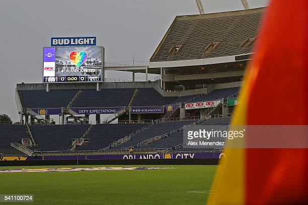 The scoreboard is seen with the Orlando United logo prior to a MLS soccer match between the San Jose Earthquakes and the Orlando City SC at Camping...