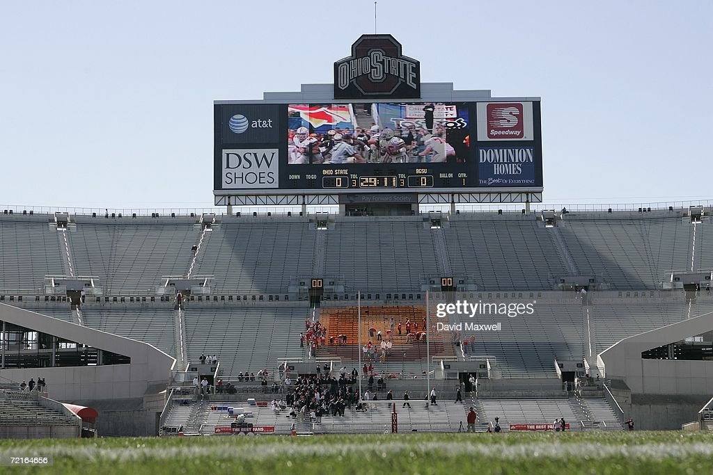 The scoreboard is shown before the Ohio State Buckeyes game against the Bowling Green Falcons at Ohio Stadium on October 7 2006 in Columbus Ohio Ohio...