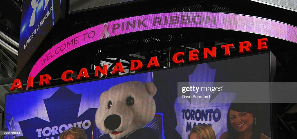 The scoreboard promoting Pink Ribbon Night as part of Hockey Fights Cancer is shown during a game between Anaheim Ducks and the Toronto Maple Leafs...