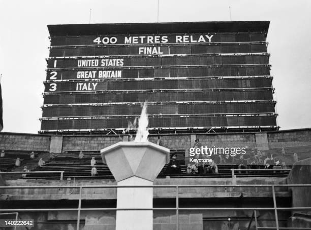 The scoreboard showing the revised results of the men's 4 x 100 metres relay final at Wembley Stadium during the London Olympics 11th August 1948...