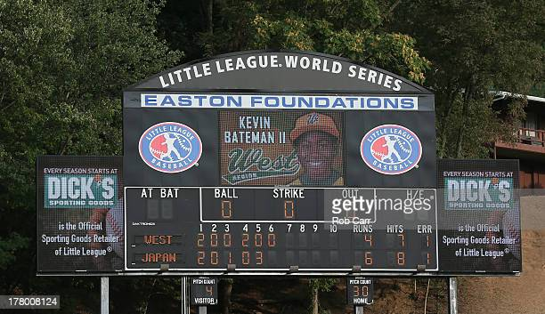The scoreboard showing the Tokyo Japan team's 64 victory over the West team from Chula Vista Ca 64 is shown following the Little League World Series...