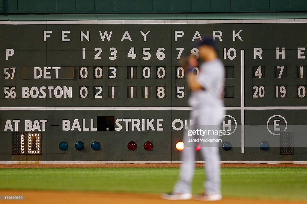 The scoreboard shows a 20-4 score in the bottom of the 8th inning during the game between the Boston Red Sox and the Detroit Tigers on September 4, 2013 at Fenway Park in Boston, Massachusetts.