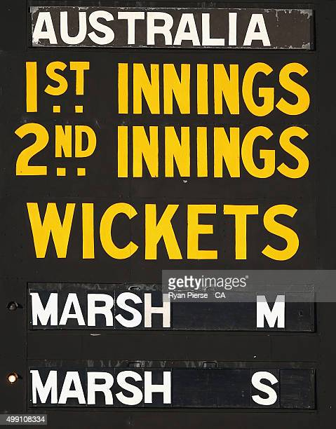 The scoreboard shows brothers Shaun Marsh and Mitch Marsh of Australia batting together for the first time in a test match during day three of the...