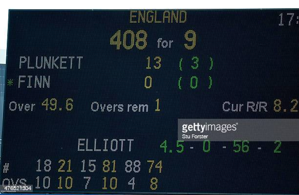 The scoreboard shows England's highest ever One Day score of 408 during the 1st Royal London One Day international between England and New Zealand at...