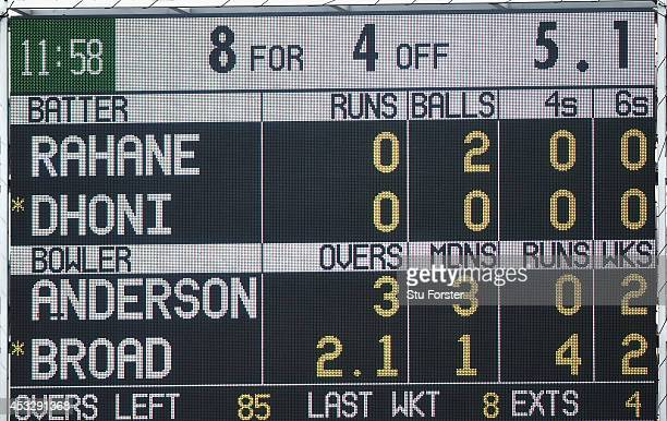 The scoreboard shows India 4 wickets down for 8 runs after England bowler James Anderson had dismissed India batsman Virat Kohli during day one of...
