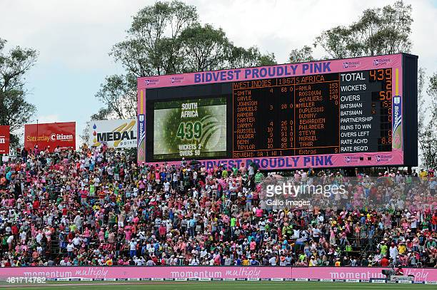 The scoreboard shows South Africa beating their previous highest 50 over score with 439/2 during the 2nd Momentum ODI between South Africa and West...