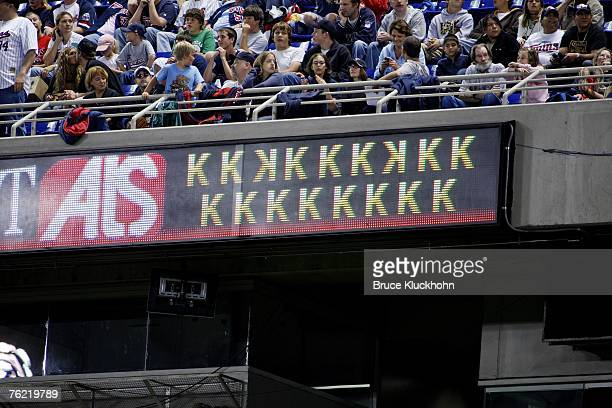 The scoreboard shows the 17 strike outs recorded by Johan Santana of the Minnesota Twins in a game against the Texas Rangers at the Humphrey...