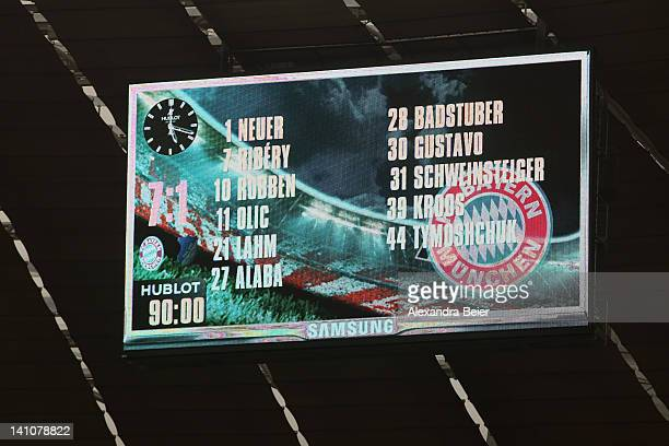 The scoreboard shows the 71 final score of the Bundesliga match between FC Bayern Muenchen and 1899 Hoffenheim at Allianz Arena on March 10 2012 in...
