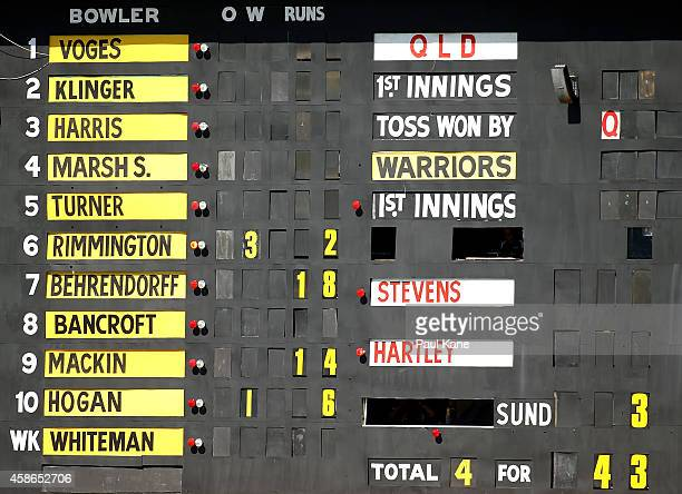 The scoreboard shows the bowling figures for Nathan Rimmington of Western Australian after the 21st over during day one of the Sheffield Shield match...