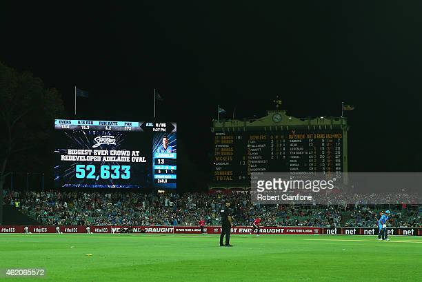 The scoreboard shows the crowd attendance of 52633 during the Big Bash League Semi Final match between the Adelaide Strikers and the Sydney Sixers at...