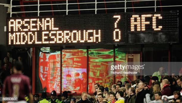 The scoreboard shows the final score after the Barclays Premiership match between Arsenal and Middlesbrough at Highbury on January 14 2006 in London...