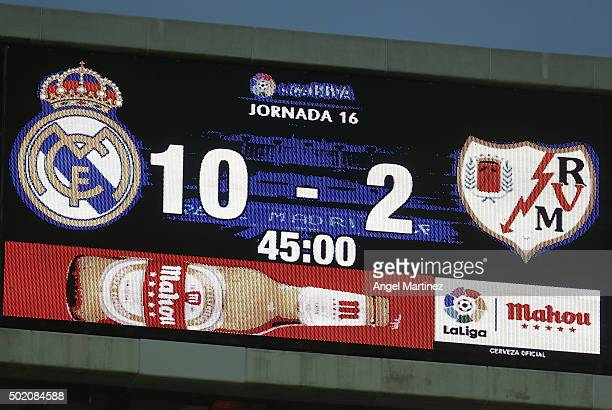 The scoreboard shows the final score after the La Liga match between Real Madrid CF and Rayo Vallecano at Estadio Santiago Bernabeu on December 20...