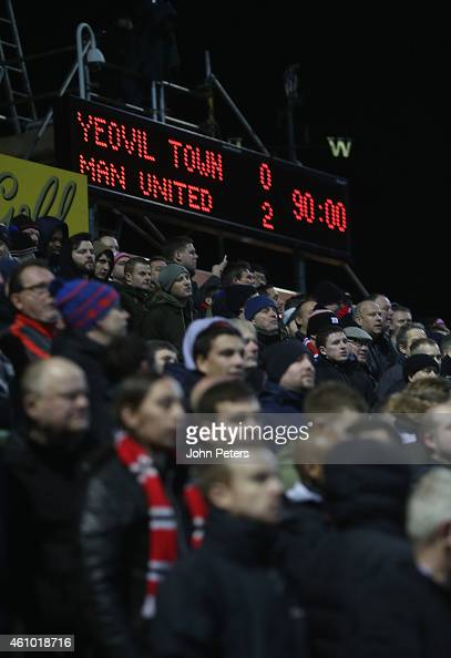 The scoreboard shows the final score during the FA Cup Third Round match between Yeovil Town and Manchester United at Huish Park on January 4 2015 in...