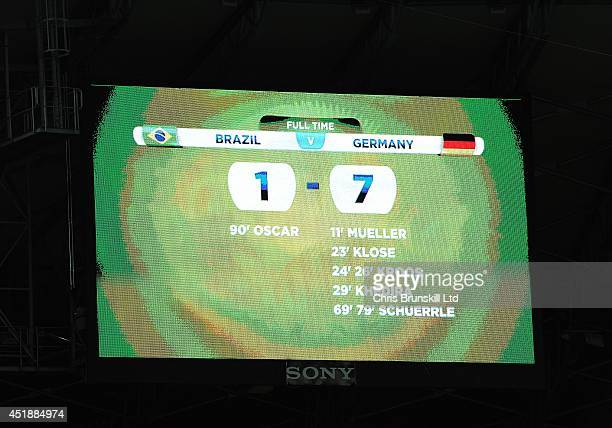 The scoreboard shows the final score of 17 following the 2014 FIFA World Cup Brazil Semi Final match between Brazil and Germany at Estadio Mineirao...