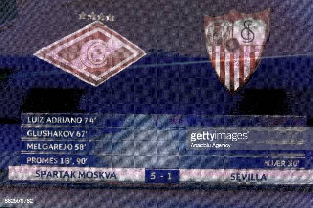 The scoreboard shows the result of the UEFA Champions League match between Spartak Moscow and Sevilla FC at Spartak Stadium in Moscow Russia on...