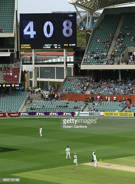 The scoreboard shows the score at 408 during day two of the First Test match between Australia and India at Adelaide Oval on December 10 2014 in...