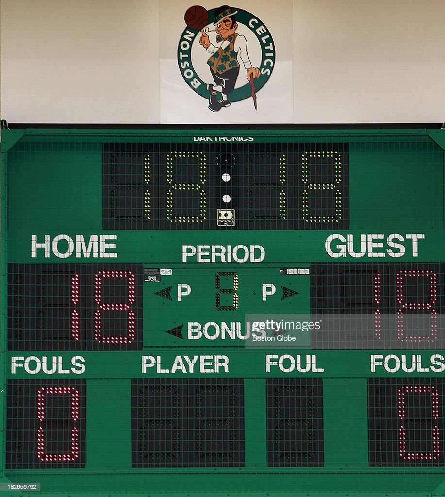 The scoreboard was full of the number 18, as the Celtics get set to open training camp in pursuit of NBA title number 18. The Boston Celtics held their Media Day at the team's training facility at HealthPoint. Players posed for promotional photos, did television promos, signed autographed memorabilia, and took questions from reporters.