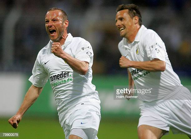 The scorer of the first goal Mark Zimmermann celebrates during the Second Bundesliga game between Carl Zeiss Jena and Erzgebirge Aue at the ErnstAbbe...