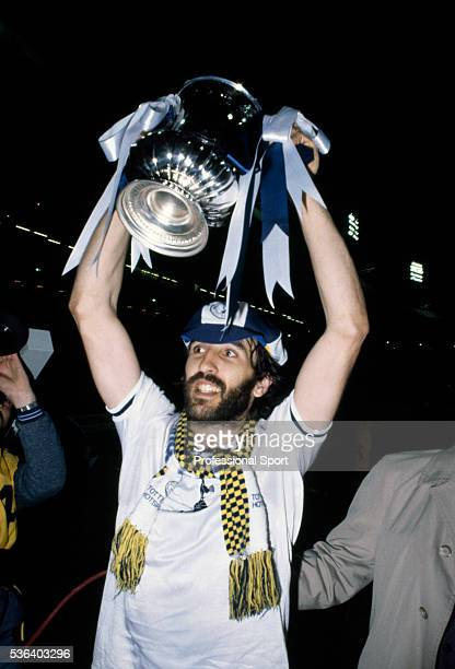 The scorer of the winning goal for Tottenham Hotspur Ricardo Villa celebrates with the trophy after the FA Cup Final Replay between Tottenham Hotspur...