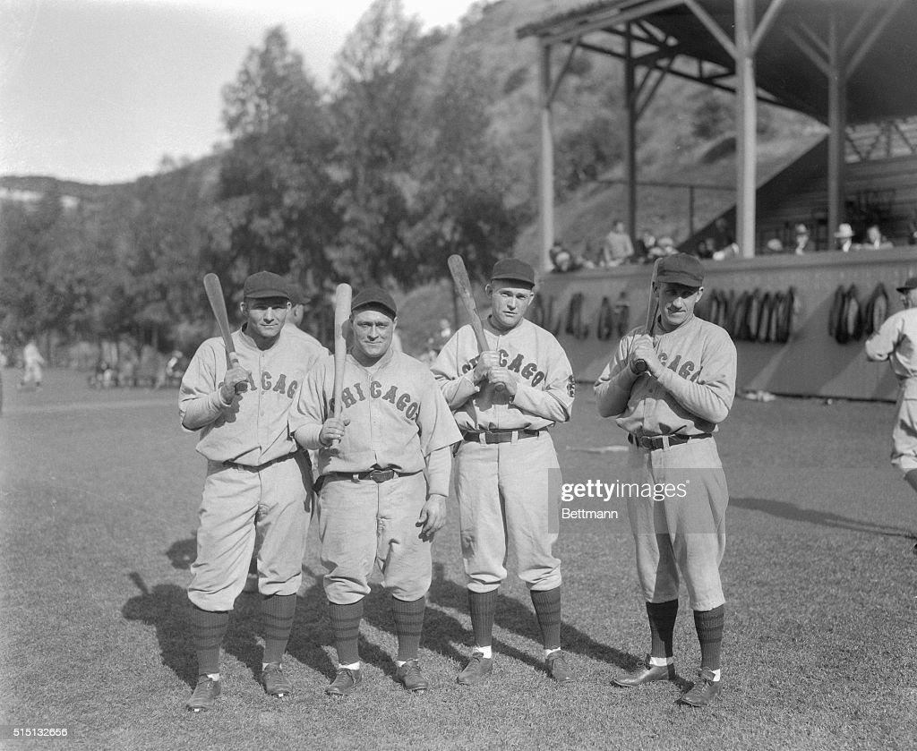 The scoring punch of left to right, Riggs Stephenson, Hack Wilson, Rogers Hornsby, and Kiki Cuyler were powerful. They put the edge on their batting eyes at Catalina Island here for the coming season.