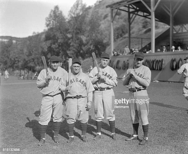 The scoring punch of left to right Riggs Stephenson Hack Wilson Rogers Hornsby and Kiki Cuyler were powerful They put the edge on their batting eyes...