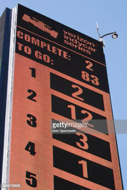 The scoring tower shows the early positions at the GoPro Grand Prix of Sonoma in Sonoma CA