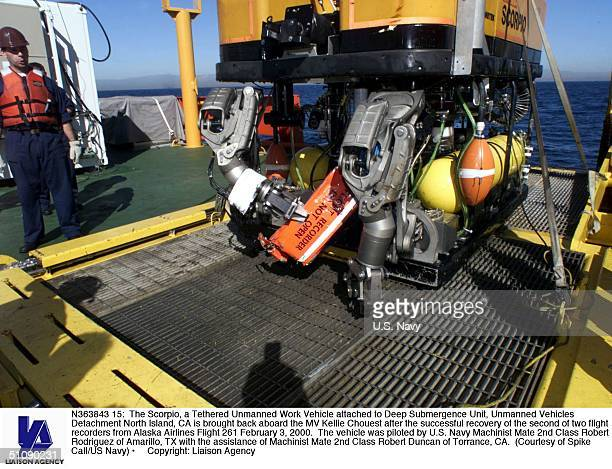 The Scorpio A Tethered Unmanned Work Vehicle Attached To Deep Submergence Unit Unmanned Vehicles Detachment North Island Ca Is Brought Back Aboard...