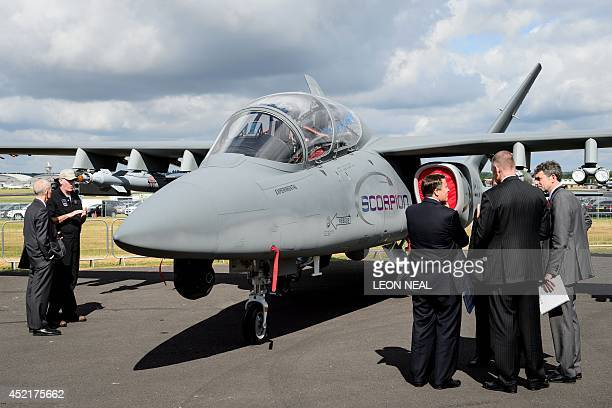 The Scorpion jet from Textron AirLand is displayed at the Farnborough air show in Hampshire England on July 15 2014 The biennial event sees leading...