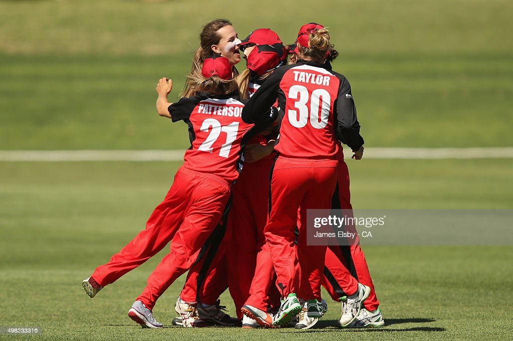 The Scorpions celebrate their win during the WNCL match between South Australia and Tasmania at Railways Oval on November 22 2015 in Adelaide...