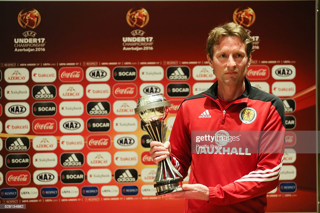 The Scotland Coach Scot Gemmill poses during the UEFA European Under-17 Championship in Azerbaijan press conference at the Boulevard Hotel.