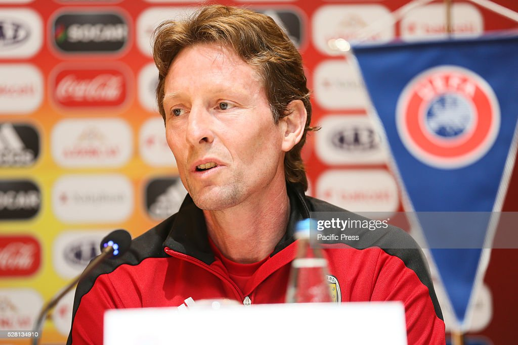 The Scotland Coach Scot Gemmill talks to the media during a UEFA European Under-17 Championship in Azerbaijan press conference at the Boulevard Hotel.