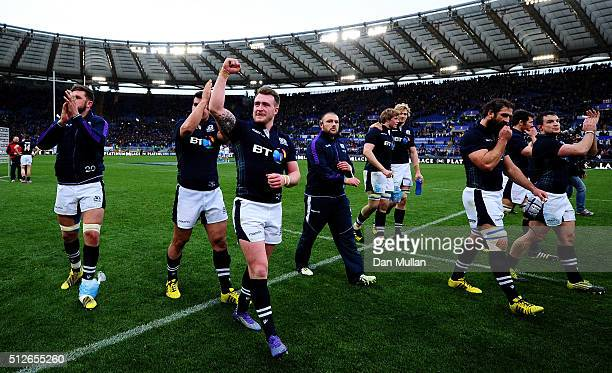 The Scotland team celebrate following their victory during the RBS Six Nations match between Italy and Scotland at Stadio Olimpico on February 27...