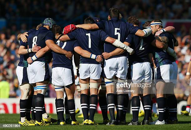 The Scotland team huddle during the 2015 Rugby World Cup Pool B match between Scotland and USA at Elland Road on September 27 2015 in Leeds United...