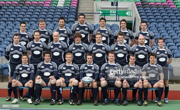 The Scotland team line up during the Captain's Run at Murrayfield Edinburgh