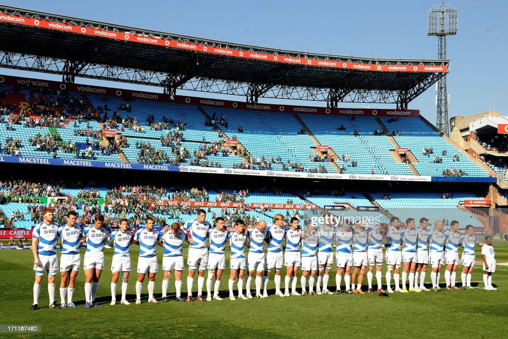 The Scotland team sings their anthem during the Castle Larger Incoming Tour match between Italy and Scotland at Loftus Versfeld on June 22, 2013 in Pretoria, South Africa.