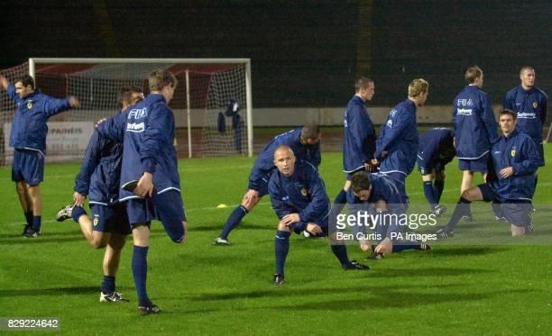 The Scotland team train at the Estadio Primeiro de Maio in Braga Portugal ahead of Wednesday's International Challenge match against Portugal