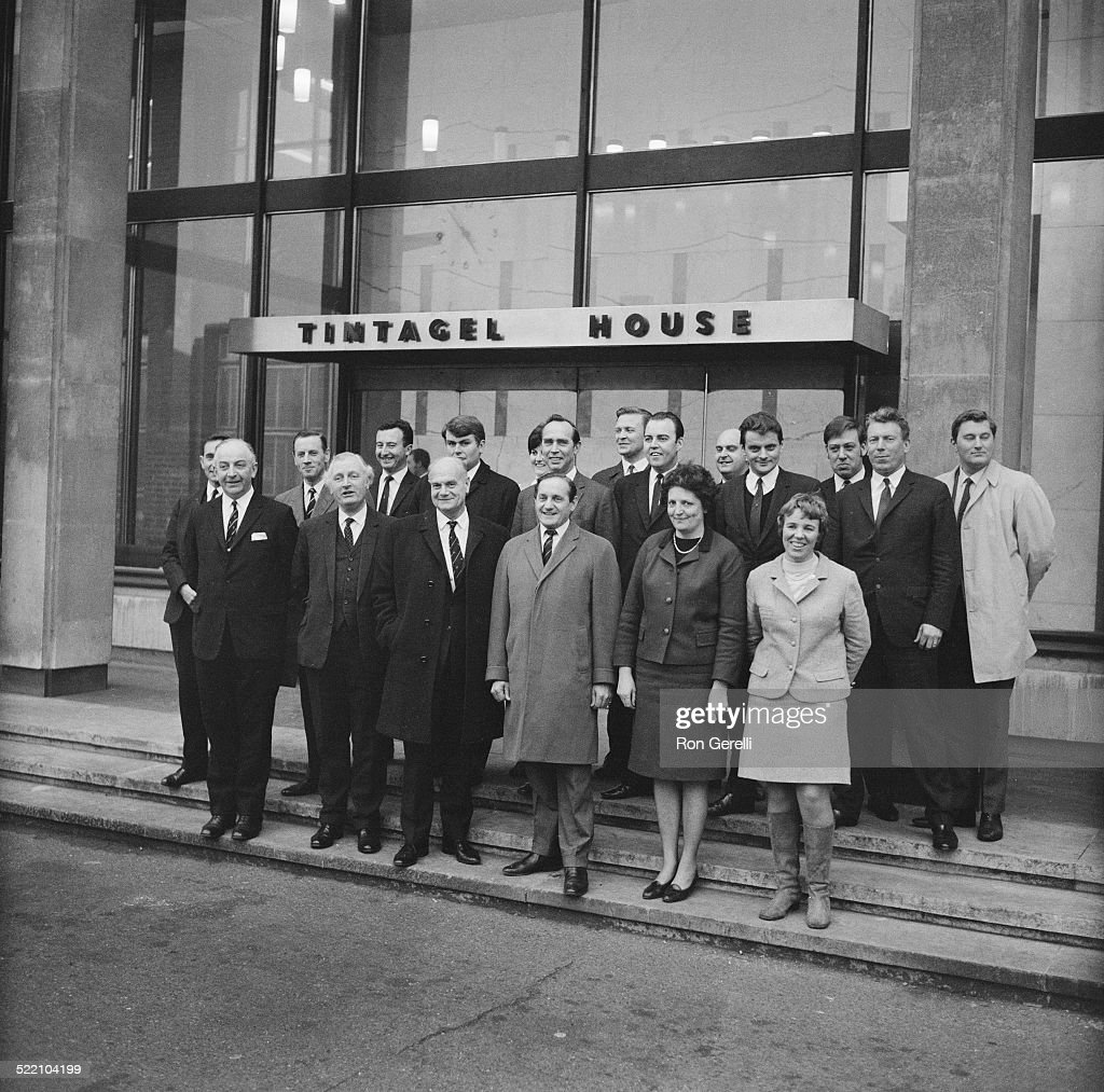 The Scotland Yard team which investigated the Kray Twins case pose on the the steps of Tintagel House, 4th March 1969. From left to right (front row) Superintendent Henry Mooney, Superintendent Don Adams, Commissioner John Du Rose, Detective Superintendent Leonard Read (aka 'Nipper' Read), Detective Sergeant Sheila Acton, Detective Constable Janet Adams; (second row) Chief Inspector Frank Holt, Detective Inspector Frank Cater, Detective Sergeant David Eager, Detective Sergeant Trevor Lloyd-Hughes, Detective Sergeant Ben Trevette, Detective Sergeant Andy Gallagher, Detective Constable George McKay, Detective Sergeant William Waite; (back row) Detective Constable Carol Liston, Detective Sergeant Algy Hemingway, Detective Constable Robin West, Detective Constable George Ness, Detective Sergeant Alan Wright.