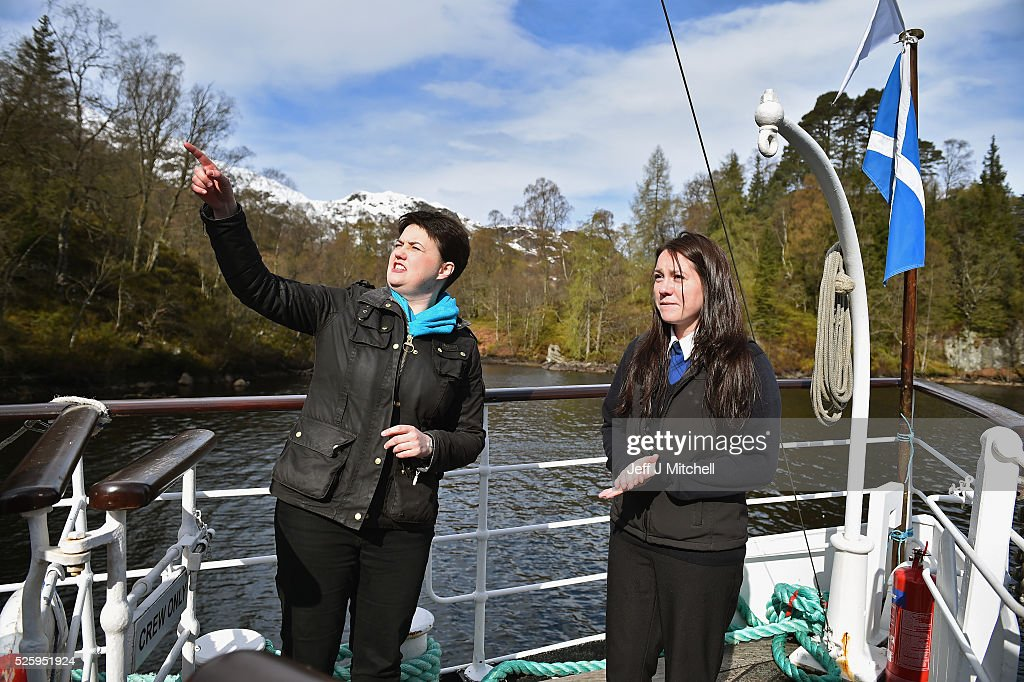 The Scottish Conservative leader <a gi-track='captionPersonalityLinkClicked' href=/galleries/search?phrase=Ruth+Davidson&family=editorial&specificpeople=8602778 ng-click='$event.stopPropagation()'>Ruth Davidson</a> meets the crew and staff on the tourist attraction the Sir Walter Scott Steamship on April 29, 2016 in Loch Katrine. Recent polls this week have shown that the Scottish Conservatives could overtake Labour as the opposition party in next month's Holyrood election.