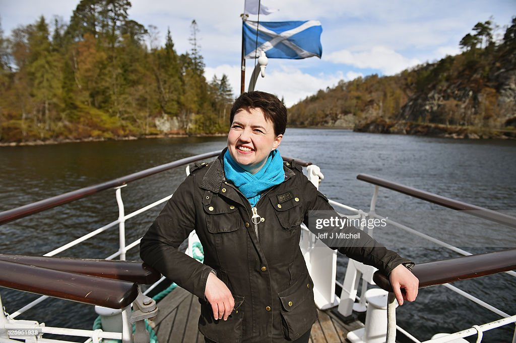 The Scottish Conservative leader Ruth Davidson poses at the bow of the tourist attraction the Sir Walter Scott Steamship as she met with staff and crew on April 29, 2016 in Loch Katrine. Recent polls this week have shown that the Scottish Conservatives could overtake Labour as the opposition party in next month's Holyrood election.