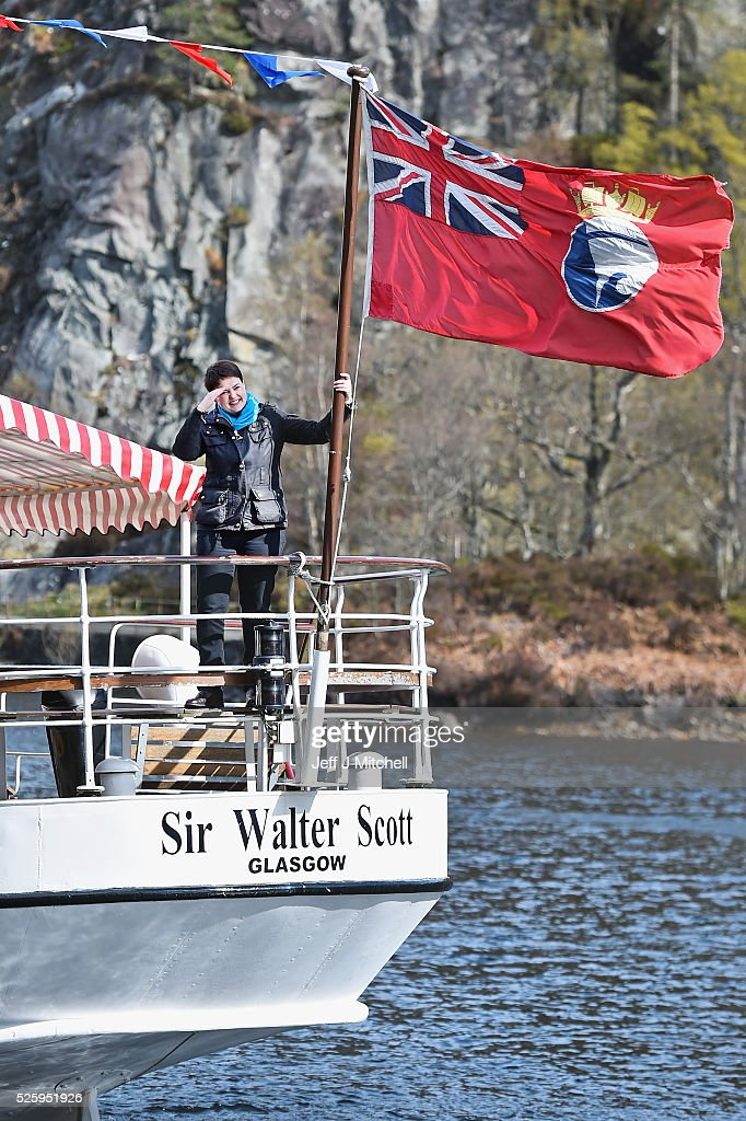The Scottish Conservative leader <a gi-track='captionPersonalityLinkClicked' href=/galleries/search?phrase=Ruth+Davidson&family=editorial&specificpeople=8602778 ng-click='$event.stopPropagation()'>Ruth Davidson</a> stands on the stern of the tourist attraction the Sir Walter Scott Steamship as she met with staff and crew on April 29, 2016 in Loch Katrine. Recent polls this week have shown that the Scottish Conservatives could overtake Labour as the opposition party in next month's Holyrood election.