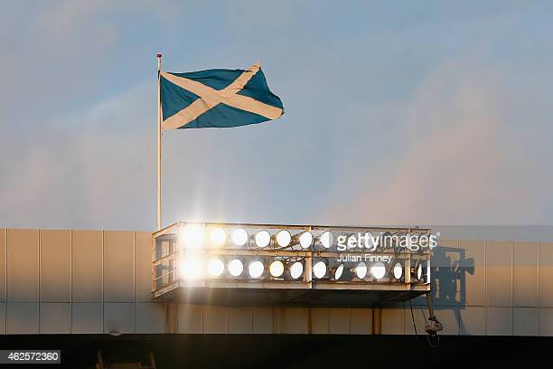 The scottish flag is seen during the Scottish League Cup SemiFinal match between Dundee United and Aberdeen at Hampden Park on January 31 2015 in...
