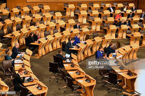 The Scottish parliament chamber is seen during the debate to keep Scotland in the European single market at the Scottish Parliament on January 17...