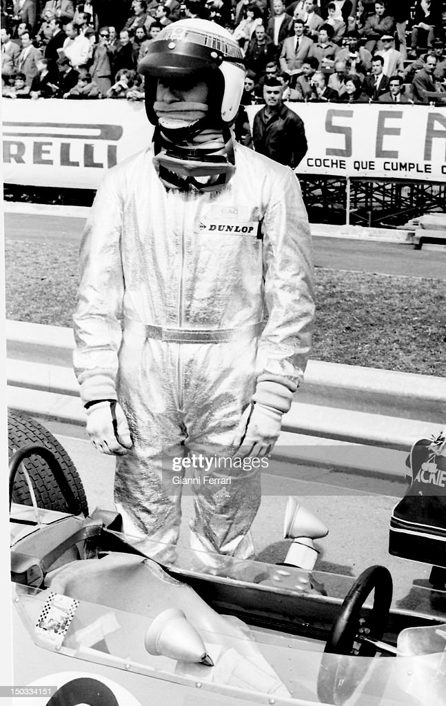 The Scottish race car driver <a gi-track='captionPersonalityLinkClicked' href=/galleries/search?phrase=Jackie+Stewart+-+Race+Car+Driver&family=editorial&specificpeople=167276 ng-click='$event.stopPropagation()'>Jackie Stewart</a> on the circuit of 'Jarama', 13rd March 1968, Madrid, Spain.