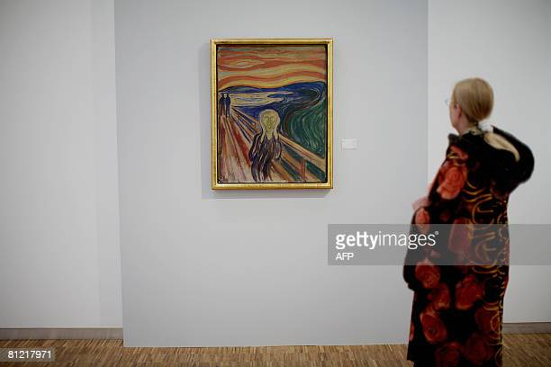 'The Scream' by expressionist painter Edvard Munch is on display for the public on May 23 2008 at the Munch Museum in Oslo after it was restored and...