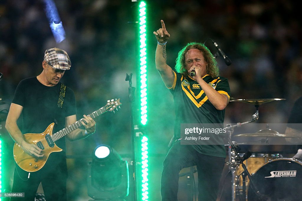 The Screaming Jets perform during the International Rugby League Trans Tasman Test match between the Australian Kangaroos and the New Zealand Kiwis at Hunter Stadium on May 6, 2016 in Newcastle, Australia.