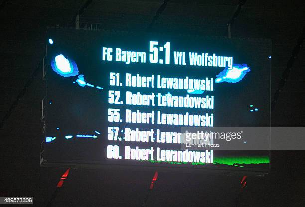 The screen shows the goals of Robert Lewandowski of FC Bayern Muenchen after the Bundesliga match between FC Bayern Muenchen and VfL Wolfsburg at...