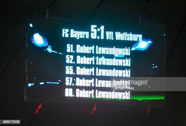 The screen shows the goals of Robert Lewandowski of FC Bayern Muenchen after the Bundesliga match between FC Bayern Muenchen and VfL Wolfsburg at...
